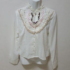 Ariella Top Blouse Cream Ruffled Striped Button Up